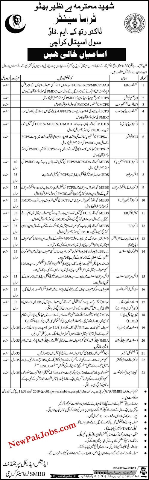 benazir bhutto centre jobs 2019