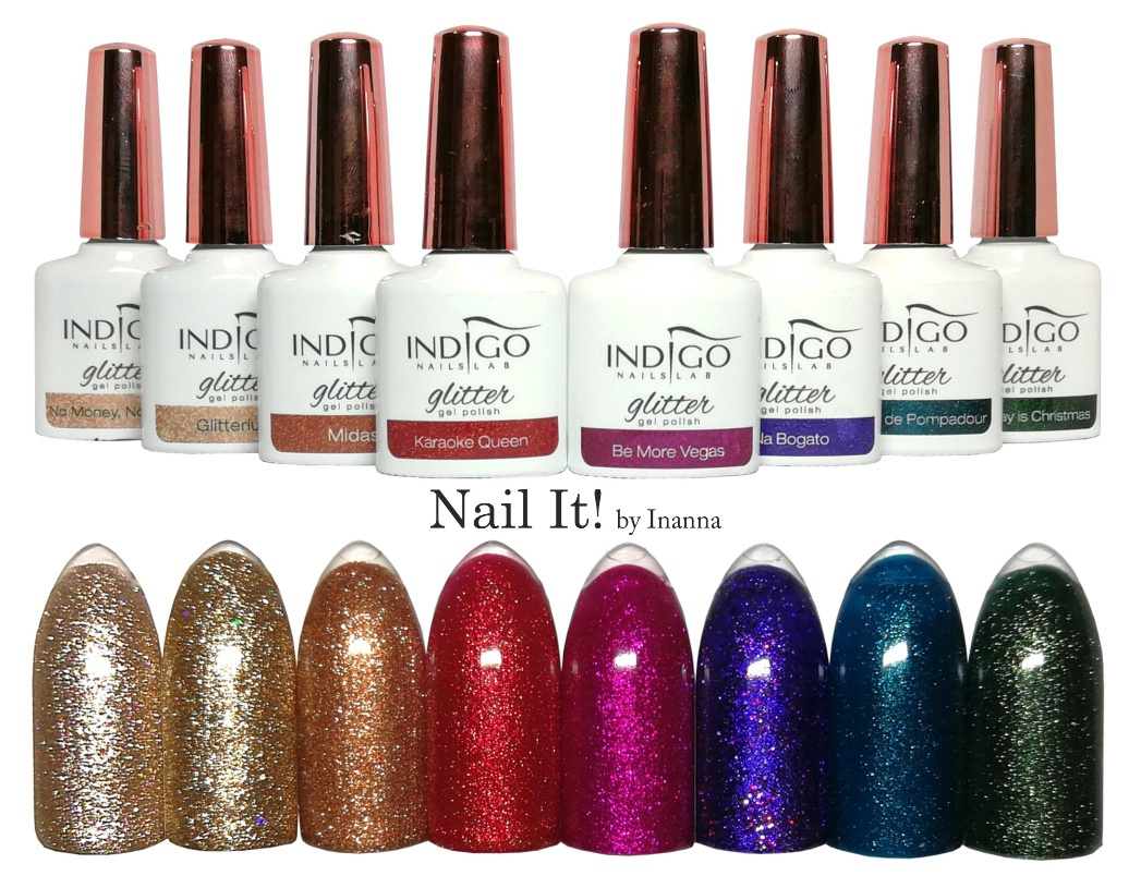 "Indigo Nails ""Glitter"" Collection - swatches of all 8 colors"