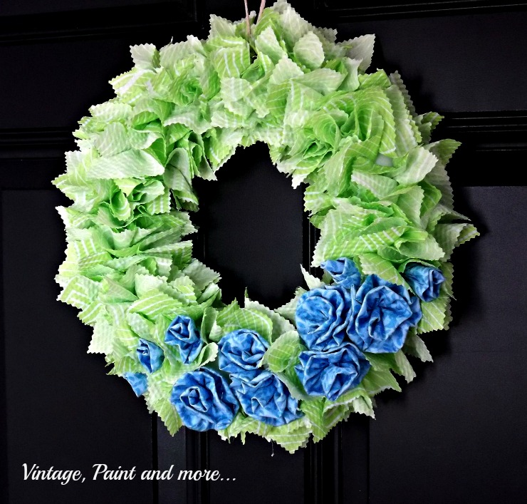 a Spring wreath made from a styrofoam wreath form and fabric