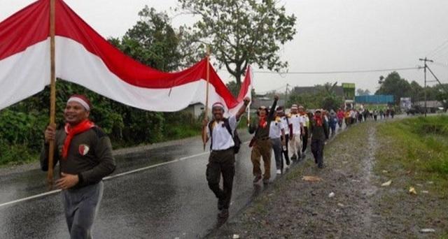 KEREN! Sambut HUT RI ke-72, PKS Mimika Papua Kirab Merah Putih Sepanjang 12 Km