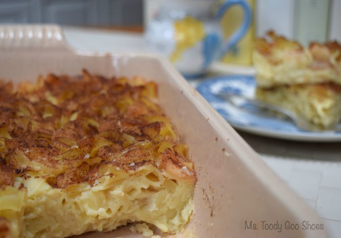 Apple-Pineapple Noodle Kugel is so creamy you'd swear this dish has cream cheese in it! | Ms. Toody Goo Shoes #kugel #jewishrecipes