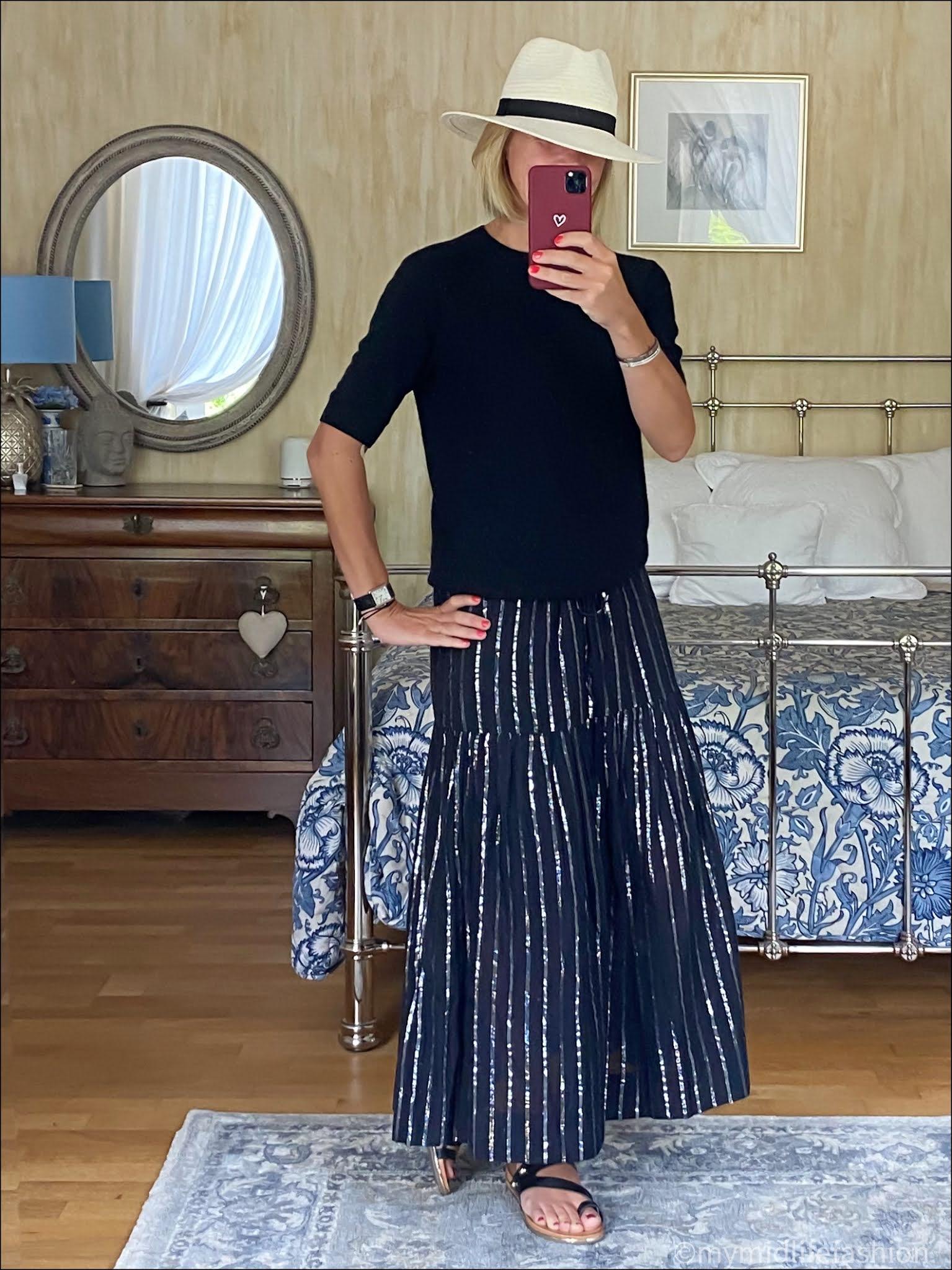 my midlife fashion, Zara Panama hat, h and m short sleeve cashmere jumper, Isabel marant etoile linen striped skirt, carvela karafe sandals