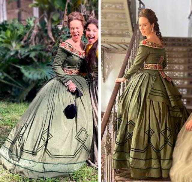 Mariana Ximenes com vestido verde na novela