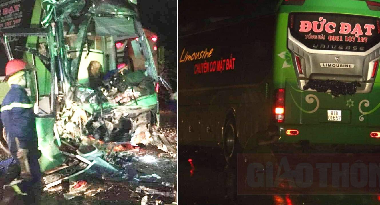 Xe Đức Đạt Gia Lai tông mạnh xe giường nằm khác đi cùng chiều, hàng chục người bị thương