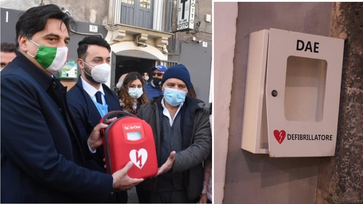installazione tre defibrillatori Catania donazione Amt