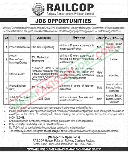 Latest Vacancies Announced in Railway Construction Pakistan Limited Railcop Islamabad 14 October 2018 - Naya Pakistan