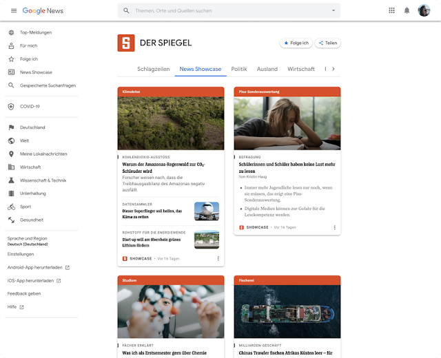 Et pour les utilisateurs qui veulent aller plus profondément, Google a ajouté une nouvelle section News Showcase directement sur les pages de destination des éditeurs participants — leur page d'accueil au sein de Google Actualités.