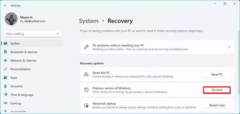 خيار التراجع عن Windows 11 إلى Windows 10