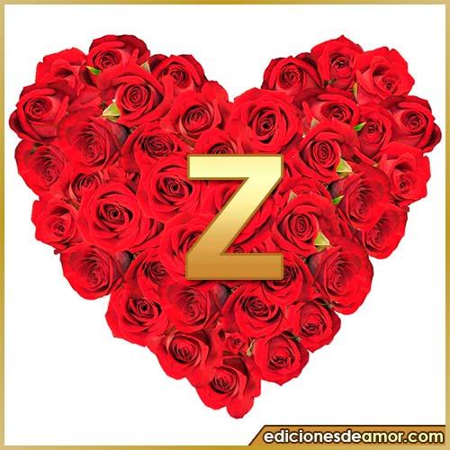 corazón de rosas con letra Z