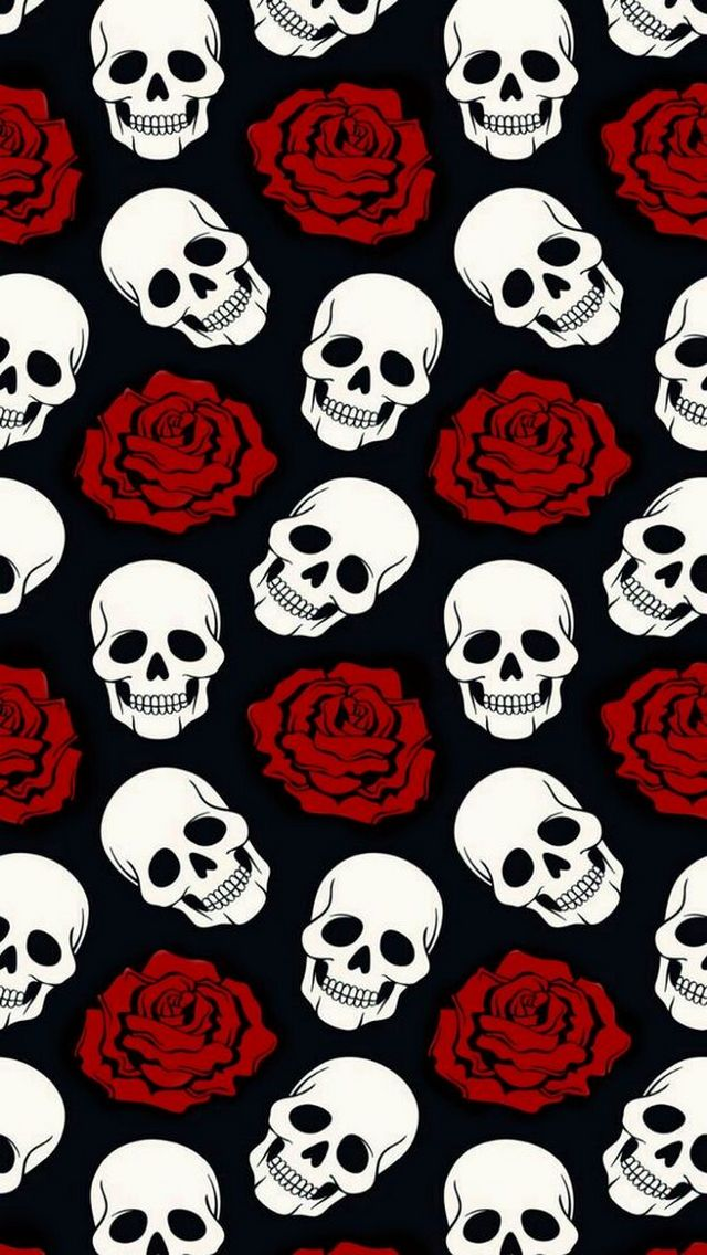 Wallpaper Horror, teschi, rose rosse