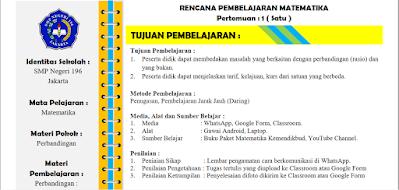 RPP Daring Matematika Kelas 7 Sem.2 Kurikulum 2013