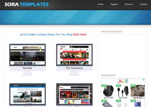 Tampilan Website SORA TEMPLATE