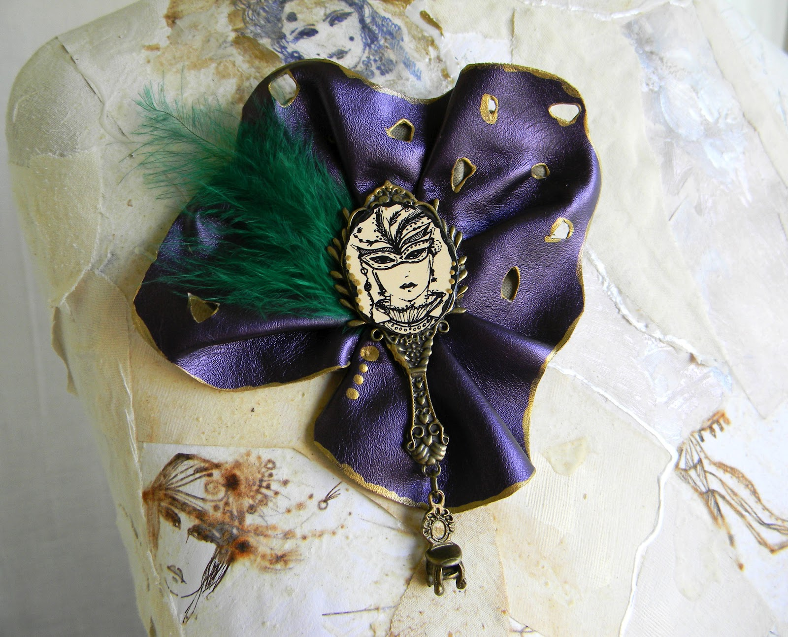 """Masquerade"" Handmade Statement Brooch Pin by Elyseeart"