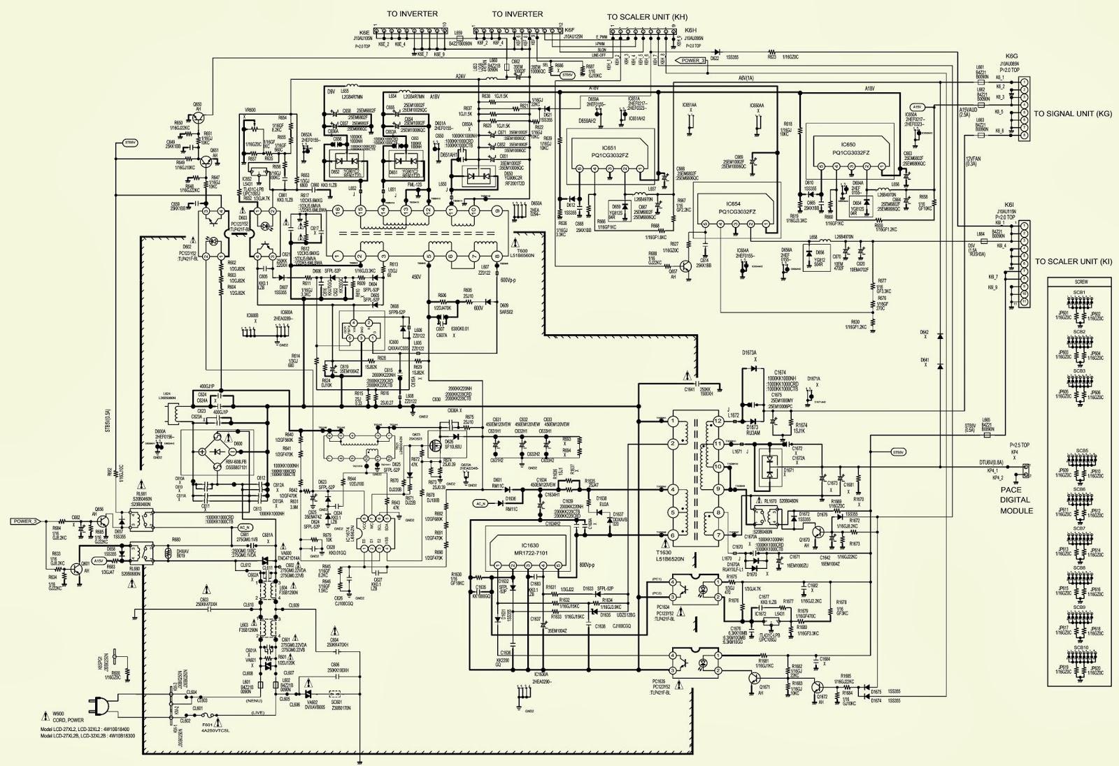 sanyo lcd-27xl2 – lcd32xl2 - power supply schematic ... sanyo schematic diagram
