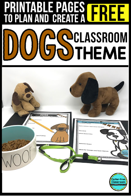 DOG Theme Classroom: If you're an elementary teacher who is thinking about a animal or pet theme then this classroom decor blog post is for you. It'll make decorating for back to school fun and easy. It's full of photos, tips, ideas, and free printables to plan and organize how you will set up your classroom and decorate your bulletin boards for the first day of school and beyond.
