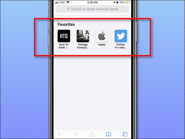 مثال على المفضلة تظهر على صفحة فارغة في Safari على iPhone.