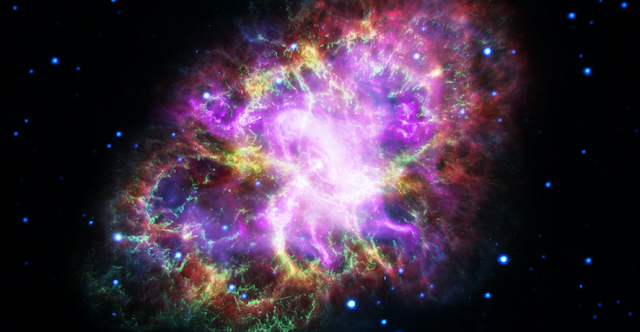 This composite image of the Crab Nebula, a supernova remnant, was assembled by combining data from five telescopes spanning nearly the entire breadth of the electromagnetic spectrum: the Very Large Array, the Spitzer Space Telescope, the Hubble Space Telescope, the XMM-Newton Observatory, and the Chandra X-ray Observatory. Credits: NASA, ESA, NRAO/AUI/NSF and G. Dubner (University of Buenos Aires)