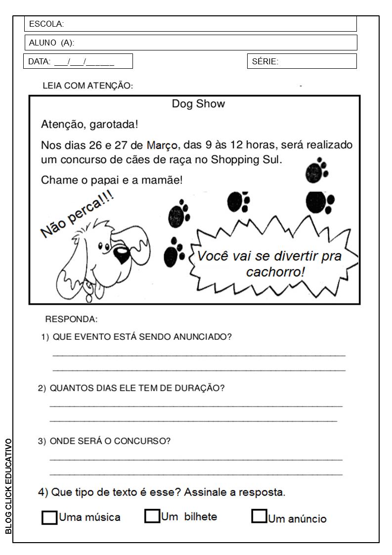 3º Ano Sequencia Didatica Para Imprimir Clicks Educativos