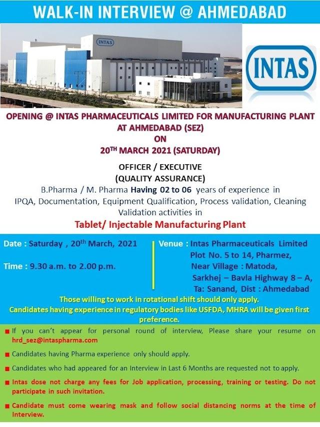 Intas Pharma | Walk-in interview for 20th Mar 2021 at Ahmedabad