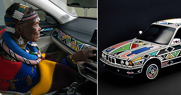 Esther Mahlangu designing a BMW car
