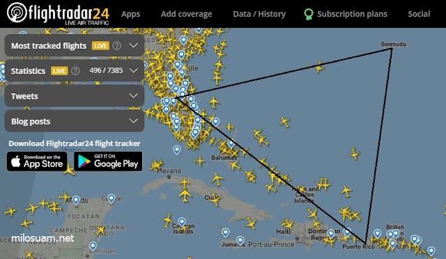 Laluan pesawat di Segitiga Bermuda