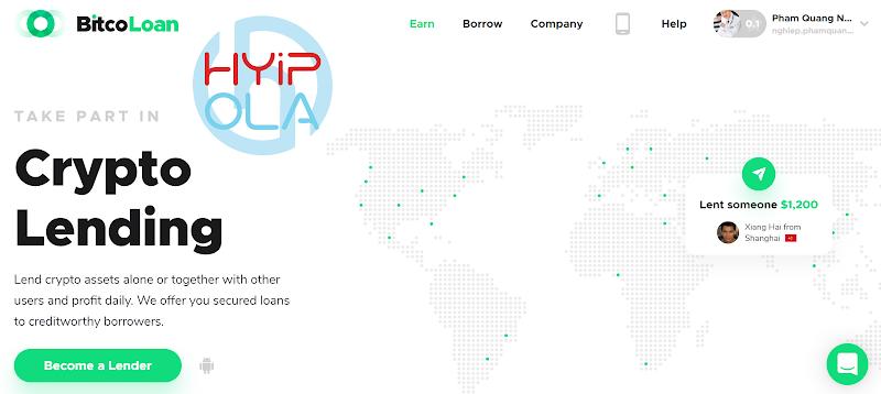 [SCAM] BitcoLoan review - Dự án đầu tư khá hay với lãi up 1.14% hằng ngày