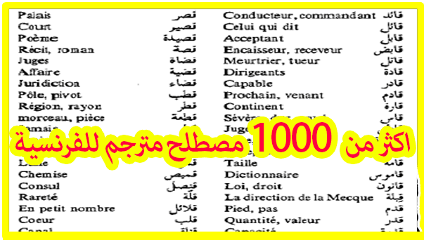أكثر من 1000 مصطلح وكلمة الاكثر استخداما في اللغة الفرنسية  PDF
