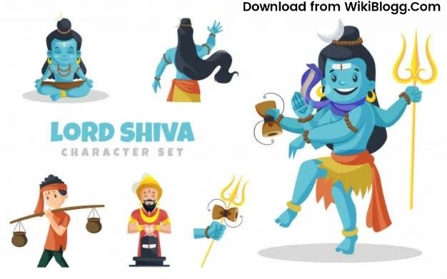 Cartoon Illustration of Lord Shiva Character Set Premium Vector