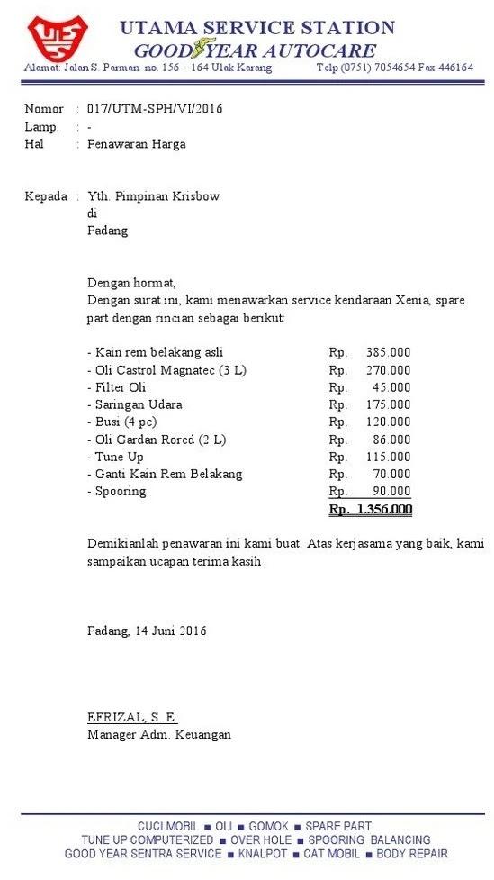 1. Contoh Surat Penawaran Jasa Service Kendaraan