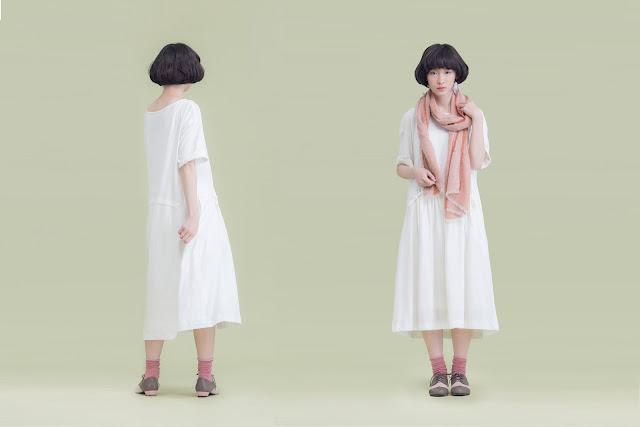 時間曲率有機棉抽繩短袖長洋裝