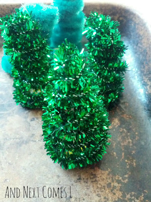 Close up of magnetic pipe cleaner trees from And Next Comes L