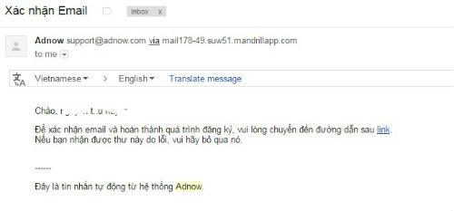 Xác nhận email kiếm tiền với adnow