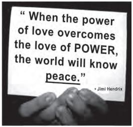 ENEM 2012: Aproveitando-se de seu status social e da possível influência sobre seus fãs, o famoso músico Jimi Hendrix associa, em seu texto, os termos love, power e peace para justificar sua opinião de que