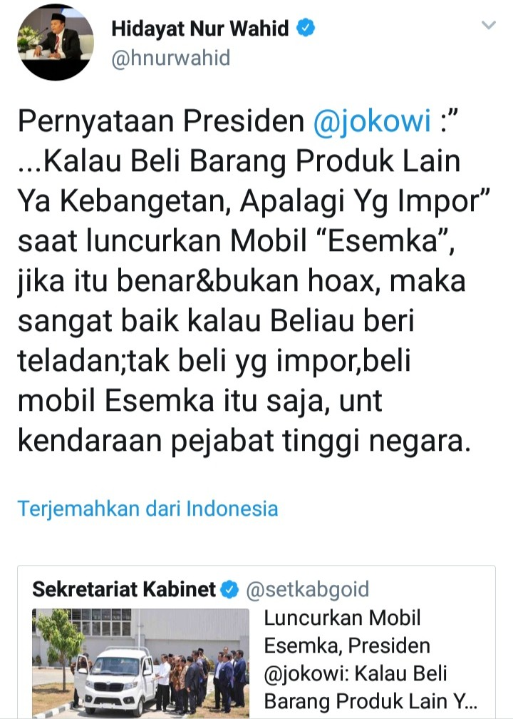 Saran Cerdas Untuk Jokowi Terkait Mobil Rakitan Esemka