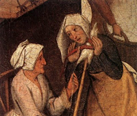 Medieval woman whispering to another