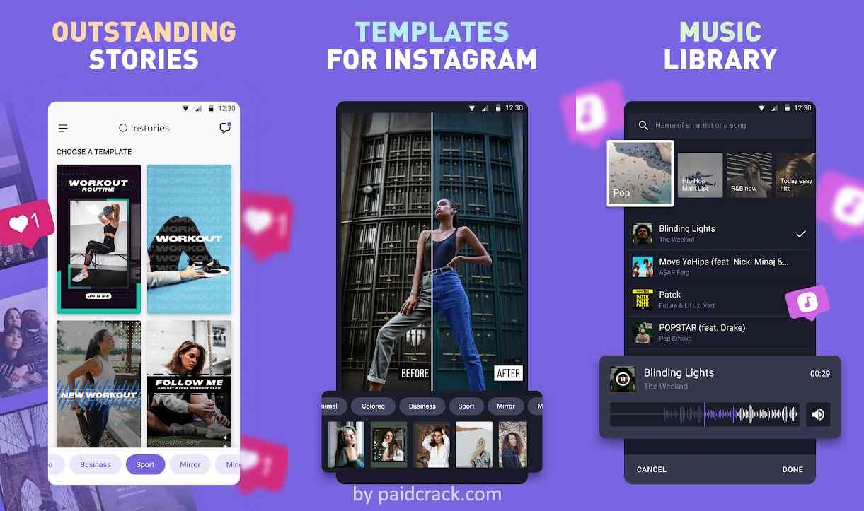 Instories: insta story collage maker & edit video Pro Mod Apk