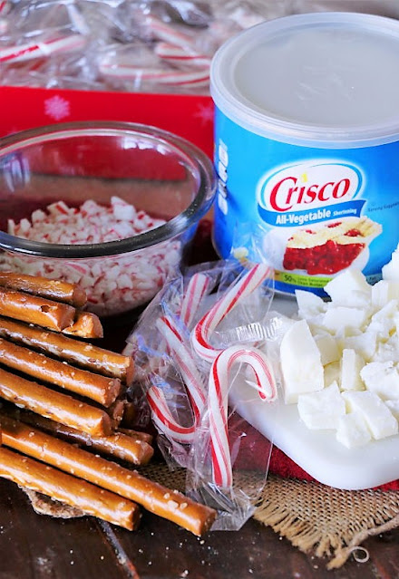 White Chocolate Candy Cane Pretzel Rods Ingredients Image
