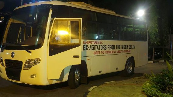 Photo: 32 seater bus manufactured by ex-Niger Delta agitators arrive Abuja for delivery to President Buhari