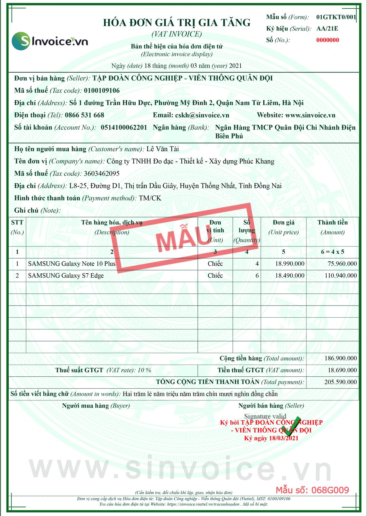 Mẫu hóa đơn điện tử số 068G009