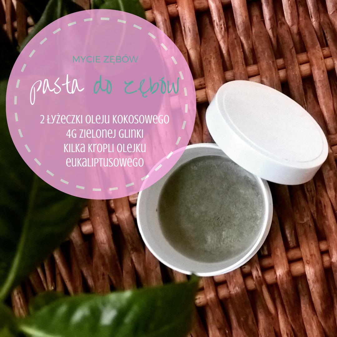Zielona glinka pasta do mycia zębów z olejem kokosowym