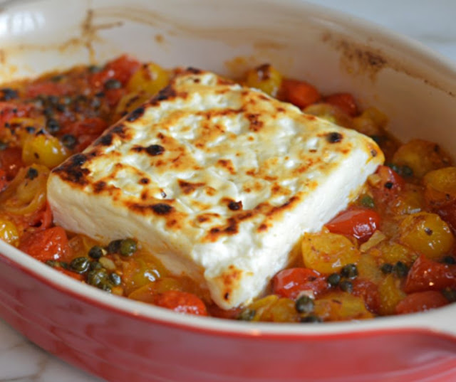 BROILED FETA WITH GARLICKY CHERRY TOMATOES AND CAPERS