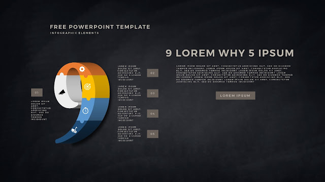 3D Puzzle Infographic Elements For PowerPoint Template with Number 9 in Dark Background