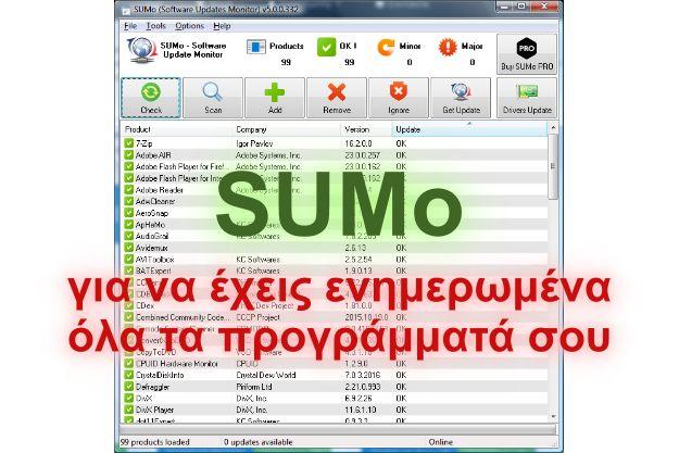SUMo - Δωρεάν εφαρμογή για να έχουμε ενημερωμένα τα λογισμικά μας