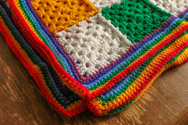 SallyStrawberry rainbow crochet granny square blanket