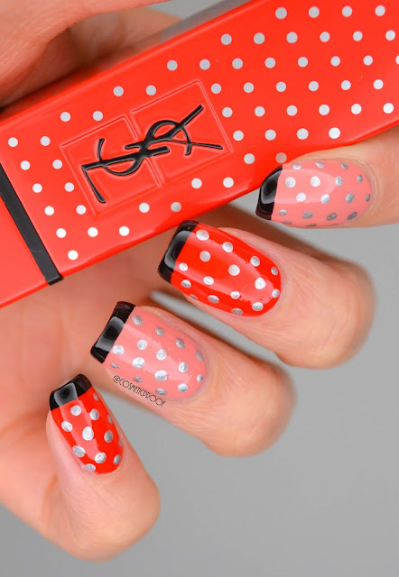 Red and Pink Polka Dot Nail Art