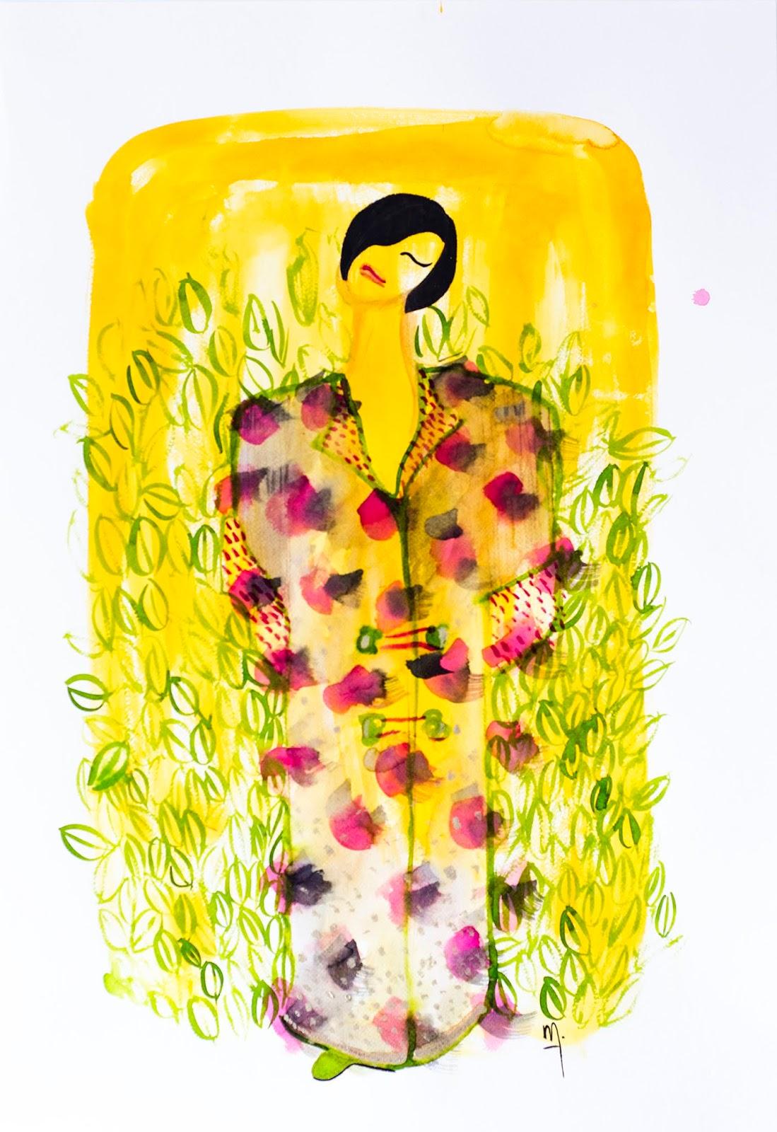 Ilustración de Melina Rapimán mujer con kimono floral en fondo amarillo