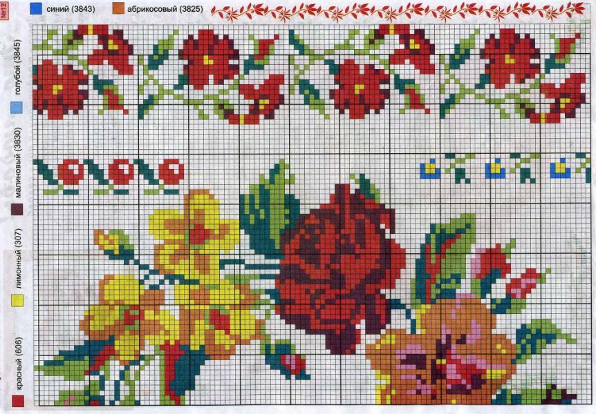 Cuadro con flores laboresdeesther punto de cruz gratis for Cuadros cocina punto de cruz