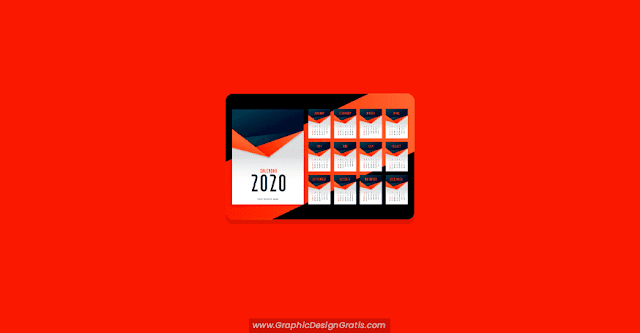 Calendario mensual de pared 2020 editable