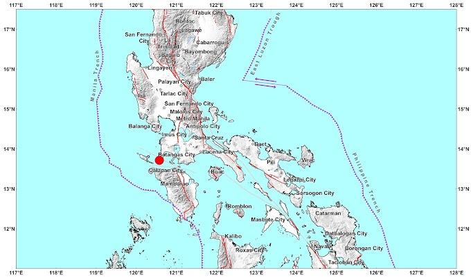 Batangas quake was felt in some parts of Luzon