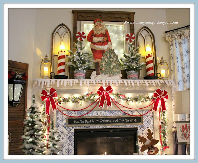 Vintage -Inspired -Cottage -Farmhouse -Christmas -Mantel-Felt-Bows-Blow-Mold-Candles-Snow-Santa-From My Front Porch To Yours